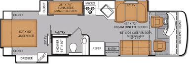 Motorhome Floor Plans Rv Floor Plans With Bunk Beds New Bunkhouse Diesel Pushers