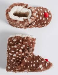 Marks And Spencer Kids Curtains Kids U0027 Faux Fur Reindeer Slipper Boots M U0026s