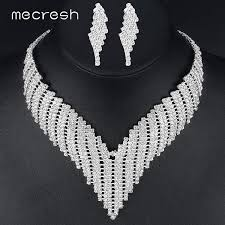 african jewelry necklace set images Mecresh crystal african jewelry sets silver color geometric jpg