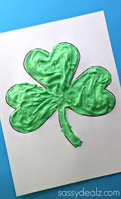 puffy paint shamrock craft for kids crafty morning