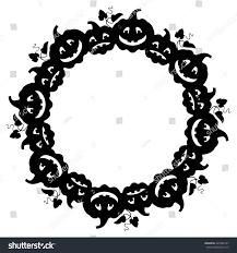 halloween silhouette vector black white round frame halloween pumpkin stock vector 445586167