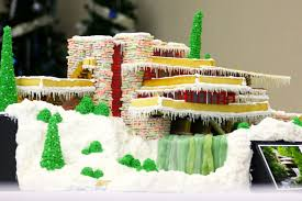 Frank Lloyd Wright Falling Water Interior Culinary Artist Creates Perfect Gingerbread Replica Of Frank Lloyd