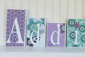 Purple Nursery Decor Personalized Name Block Letters Baby Nursery Decor Baby Name