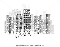 royalty free black and white illustration with city 355685138