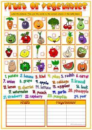50 free esl fruit and vegetables worksheets