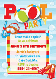 birthday party invitations pool party invitations printable emoji pool party party invitation