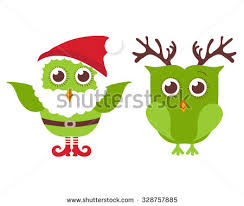two cute christmas owls one owl stock illustration 328757885