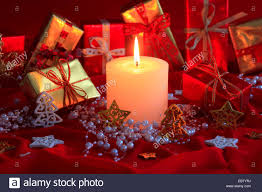 decoration with presentation packs and candle stock photo