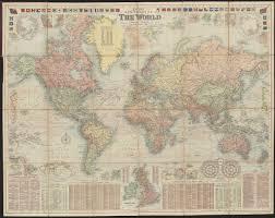 Mercator World Map by Bacon U0027s New Chart Of The World 1908 Mercator U0027s Projection