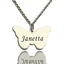 Name Necklace Silver Charming Butterfly Pendant Name Necklace Silver
