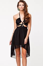 black cut out dress black halter cutout backless high low party dress high low
