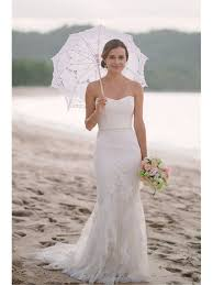 sweetheart floor length simple beach wedding dress with lace applique