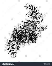 henna tattoo indian mehendi drawing flowers stock vector 421976902