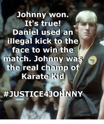 Win Kid Meme - johnny won it s true daniel used an illegal kick to the face to