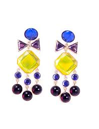 chandelier earrings tiered chandelier earrings with blue purple and yellow swarovski