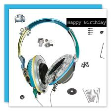 happy birthday headphones greeting card scrap collection by real