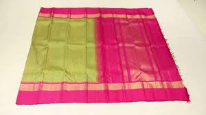 Pink Colour green with yellow lines pure zari with pink colour contrast