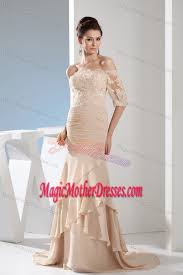 off the shoulder half sleeves mother bride dress with brush train