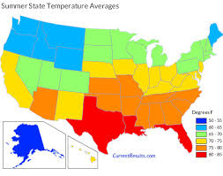 us climate map summer temperature averages for each usa state current results