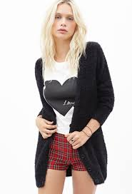 Plaid Cardigan Womens Forever 21 Button Down Fuzzy Cardigan In Black Lyst