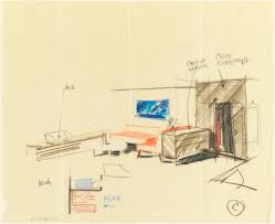 sketch room drawing rough sketch room for uris hotel 1950 u201355 objects