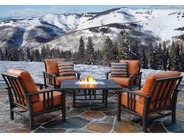 Homecrest Trenton Conversation Firepit Cushion Aluminum Lounge Set - Patio furniture made in usa