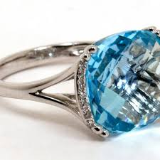 rings topaz images Fancy cut blue topaz ring with pave diamond brackets harry jpg