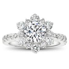 snowflake engagement ring snowflake inspired diamond halo moissanite engagement ring