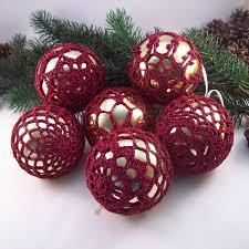 gold u0026 burgundy christmas baubles crochet baubles christmas