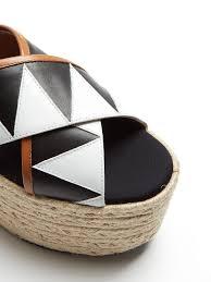 applique zig zag marni sandales espadrilles à plateforme appliqué zigzag femme noir