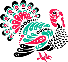 happy thanksgiving beautiful turkey symbol decoration