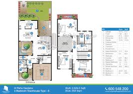 floor plan of al mariah al raha gardens 3 bedroom type s 2529 3 sqft
