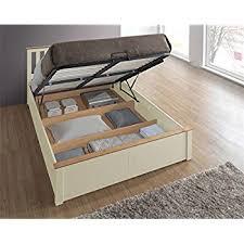 phoenix wood ottoman bed frame storage double 4ft6 cream ivory oak