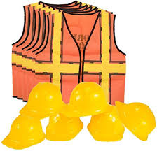 Construction Worker Costume Kids Dress Up Construction Set U2013 6 Construction Worker Vest With 6