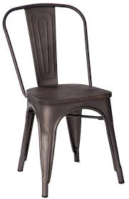 Tolix Bistro Chair Merax High Back Metal Dining Chair With Wood Seat