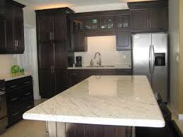 Island Kitchen Counter White Granite Kitchen Countertops Two Wooden Bar Stool On Wooden