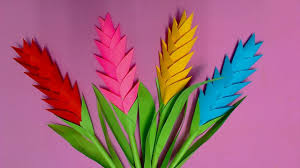how to make heliconia flower with color paper diy paper flowers