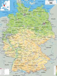Physical Features Of Europe Map by Physical Map Of Germany Ezilon Maps