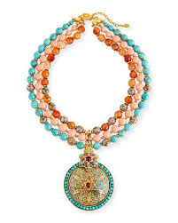 charm necklace with beads images Jose maria barrera three strand beaded medallion pendant jpg