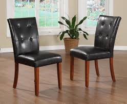 Tufted Black Leather Parson Dining Chair Oxford Creek Faux Tufted Leather Parson Chairs Set Of 2 Red