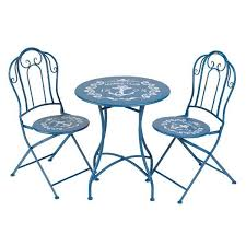 Folding Bistro Table And 2 Chairs Gardman Nautical Blue Bistro Table U0026 2 Chairs Set Folding Metal