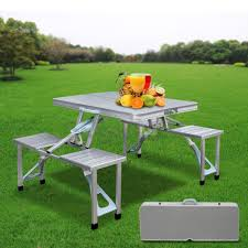 aluminum portable picnic table zeny outdoor garden aluminum portable folding c suitcase picnic
