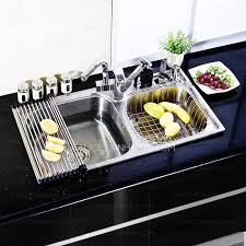 Nickel Brushed Single Bowl Stainless Steel With Faucet Kitchen Sinks - Brushed stainless steel kitchen sinks