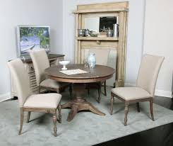 kincaid weatherford milford round dining table set in heather