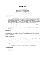 Sample Resume For Call Center Agent With Experience by Venu Resume