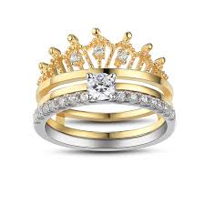 set rings round images Crown round cut white sapphire sterling silver women 39 s wedding jpg