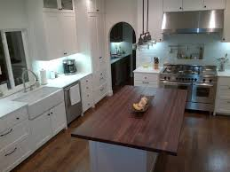 kitchen island with butcher block black walnut butcher block countertop shocking countertops country