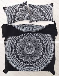 Duvet And Duvet Covers Queen 0119 Black And White Ombre Mandala Duvet Cover By