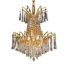 Cristal Chandeliers by Elegant Lighting 5 Light Gold Chandelier With Clear Crystal