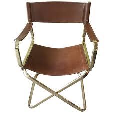 Mid Century Italian Designed Leather Folding Director U0027s Chair By
